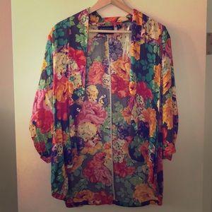 Mink Link Colorful Floral Print Jacket